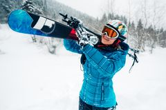 Girl go with ski equpment in ski touring Royalty Free Stock Photography