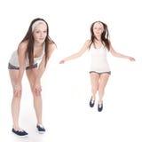 Girl go in for sport Stock Photo