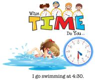 A girl go swim at 4:30 Royalty Free Stock Photo