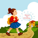 Girl go to school. Royalty Free Stock Photo