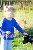 Girl and goat. Stock Photo