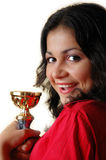 Girl with a goblet. In hands look on camera Stock Image