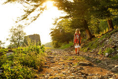 The girl goes along the forest road at sunset. Stock Images