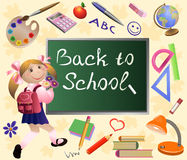 Girl goes back to school. Colorful vector illustration with  little  girl - Back to school background. Set of school tools and chalkboard Royalty Free Stock Images