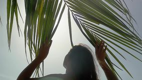 The girl goes through a branch of a palm tree to the sea resting on the beach and the sun shines through the palm tree. With lens flare effects in slow motion stock footage