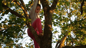 Girl goes down from tree stock video footage