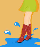 Girl goes through the puddles Royalty Free Stock Photo