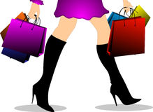 Girl goes shopping. Girl with different colored bags goes shopping Vector Illustration