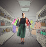 Girl goes shopping stock photography