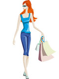 The girl goes shopping Royalty Free Stock Photography