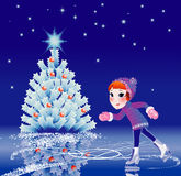 Girl goes on skates Royalty Free Stock Images