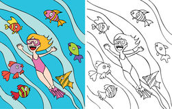 Girl goes snorkeling royalty free illustration