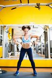 Girl goes in for sports in the gym. Girl goes in for sports in the gym. Concept of a healthy lifestyle. royalty free stock photography