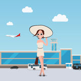 Girl goes throung the airport with luggage. Flat. Girl goes throung the airport with luggage. EPS 10. vector Royalty Free Stock Image