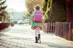 Girl goes to school Royalty Free Stock Photography