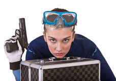 Girl in goggles and gun. Royalty Free Stock Image