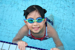 Girl with goggles in the pool. Girl with goggles in the swimming pool Stock Images