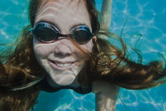 Girl Goggles Underwater Stock Photos