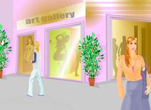 Girl going at Art Exhibition. Set useful for invitation, event, post-card or related topic Royalty Free Stock Image