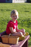 Girl Going Berry Picking Royalty Free Stock Photos