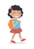 Girl Going in for School with Rucksack Isolated Stock Images