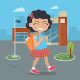Girl Going in for School with Rucksack Royalty Free Stock Photos