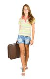 Girl  going with suitcase Stock Photos