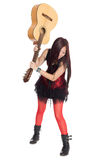 Girl is going to break the guitar Stock Photo