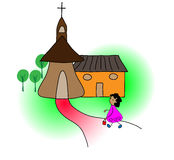 Girl going to church. Girl happily walking to church stock illustration