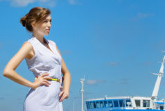 Girl is going to in cruise. Royalty Free Stock Image