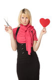Girl going to cut a heart shape Stock Photography