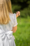 Girl going to the first holy communion. Girl on the day of Holy Communion Royalty Free Stock Images