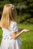 Girl going to the first holy communion. Girl on the day of Holy Communion Royalty Free Stock Photos