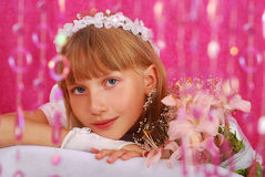Girl going to the first holy communion (in studio) Stock Image