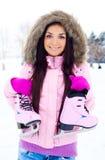 Girl going to ice skate Stock Photos