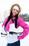 Girl going to ice skate Royalty Free Stock Photos