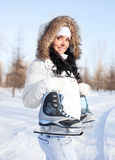 Girl going to ice skate Stock Images