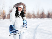 Girl going to ice skate Royalty Free Stock Images