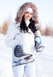 Girl going to ice skate Stock Photography