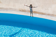 A girl  going to jump Royalty Free Stock Photography