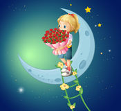 A girl going to the moon with a bouquet of roses Stock Images