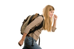 Girl going to school royalty free stock photography