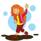 girl going to school Royalty Free Stock Image