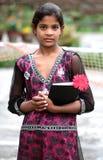 Girl going to school stock photos