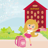 Girl going to school Royalty Free Stock Photos