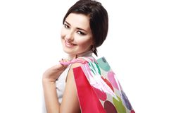 Girl going to shopping Royalty Free Stock Photography