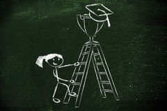 Girl going up a ladder to catch a trophy with graduation cap Stock Photography