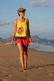Girl going for a walk in Porto Santo Stock Image