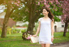 The girl going on way to a white dress Royalty Free Stock Image