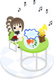 A girl and gold-fish basin. The girl who listens to music with a goldfish at a green table Stock Image